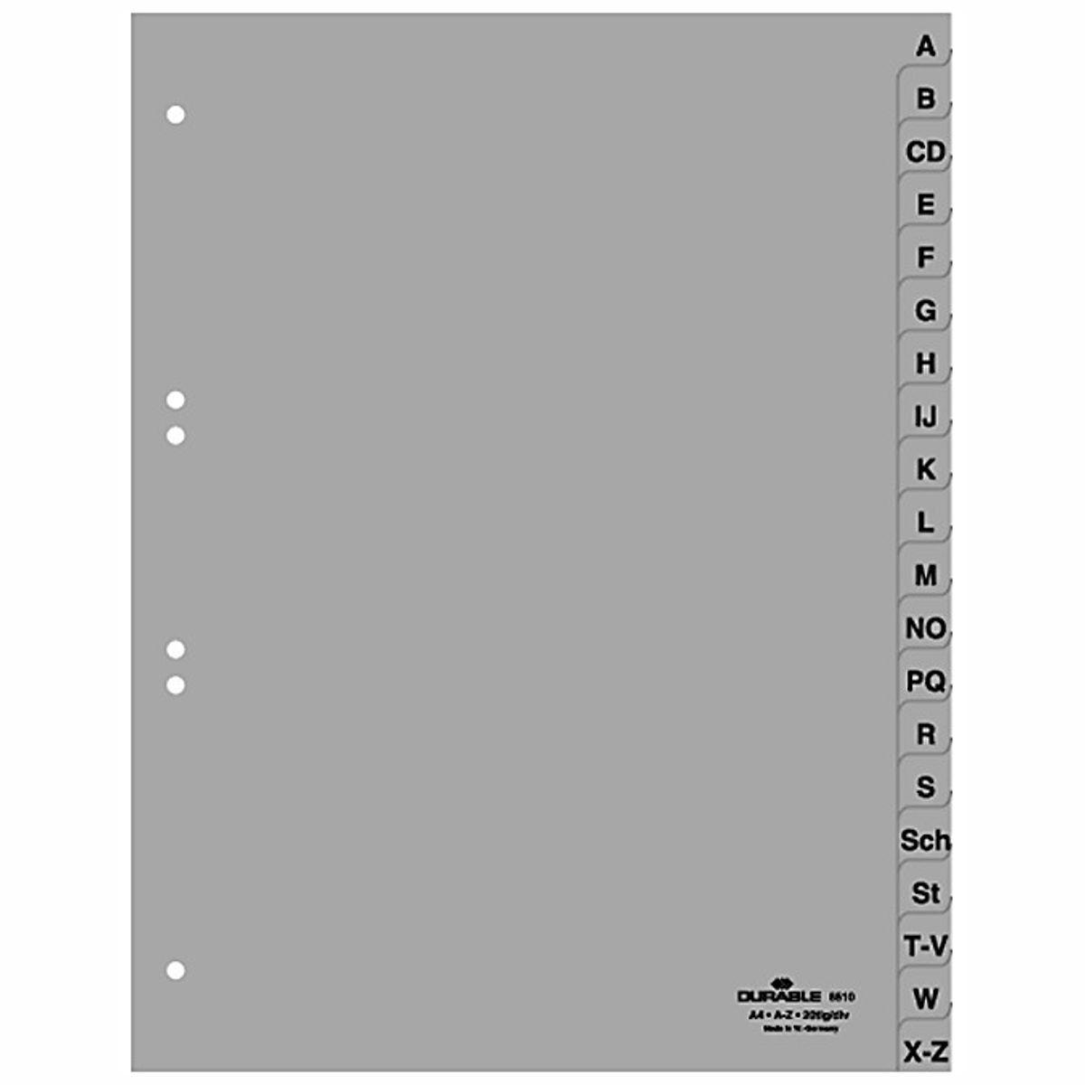 DURABLE ABC Register 6510 A4 A-Z 20tlg PP volle Höhe grau